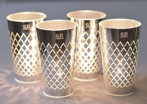 Geripptes Licht - Advent 4er Set silber
